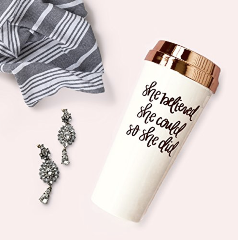 Handlettered Quote Rose Gold Travel Coffee Mug - The ultimate Gift Guide for the Girl Boss Entrepreneur by Melissa Lewis