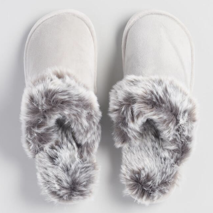 Cozy Fur Gray Slippers for the ultimate girl boss entrepreneur gift guide by melissa lewis