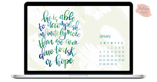 January 2019 Desktop Handlettered Scripture Wallpaper by Melissa Lewis Art