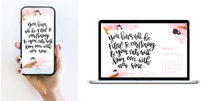 February 2019 Free Desktop and iPhone Handlettered Scripture  Wallpaper by Melissa Lewis