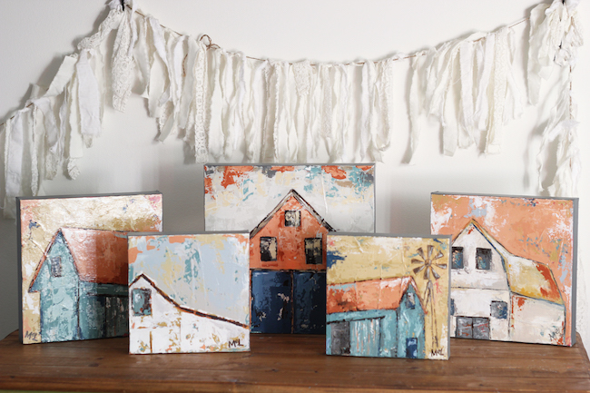 Abstract Farmhouse Acrylic Barn Paintings by Southern Artist Melissa Lewis