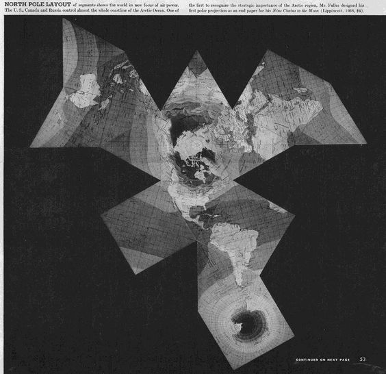 "Buckminster Fuller, The Dymaxion Map of the North Pole. Published in  Life Magazine's photographic essay ""Life Presents R. Buckminster Fuller's Dymaxion World,"" March 1, 1943."