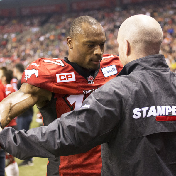 Calgary Stampeders being examined by Group23 sport physician