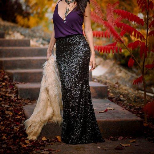 a1cca4e9 Sparkly Black Sequin Maxi Skirt - High Waist Trumpet/Mermaid
