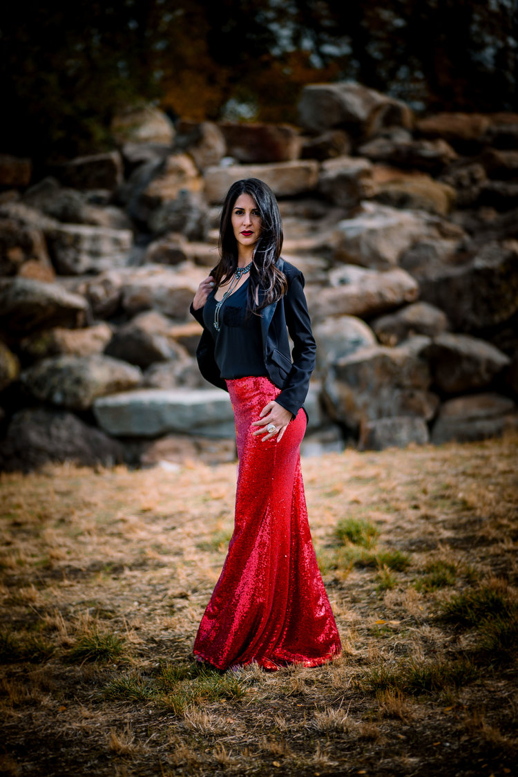 276a7a08 Red Sequin Maxi Skirt - High Waist Trumpet/Mermaid — Glitter Fox