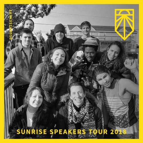 Bring Sunrise to speak in your community - This February,we're sending teams of Sunrise Speakers on tour to put on community events about climate change, why it's happening, and what young people across the United States are doing to stop climate change and strengthen our communities in the process.Request a Sunrise Speaker to your classroom, church, or community below.