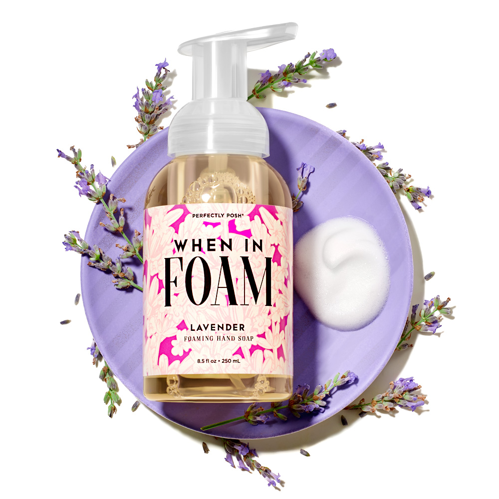 Perfectly Posh When in Foam Foaming Hand Soap, sulfate-free hand soap, lavender hand soap
