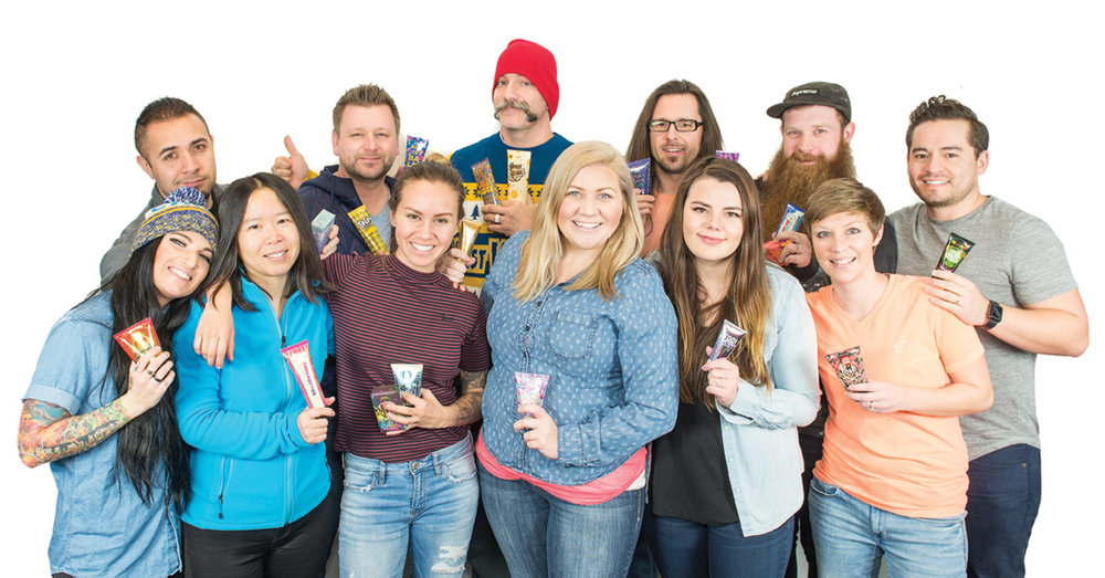 The Creative Team    Back row, L to R: Adam Scott, Tonii Humphrey, Zach Jones, Austin Lindsay, Adam Gotter-Fulton, Brad Muramoto    Front row, L to R: Rachel Bourgault, Paige Huang, Becca Berry, Shannon Sommers, Alexa Griffin, Ty Cullison