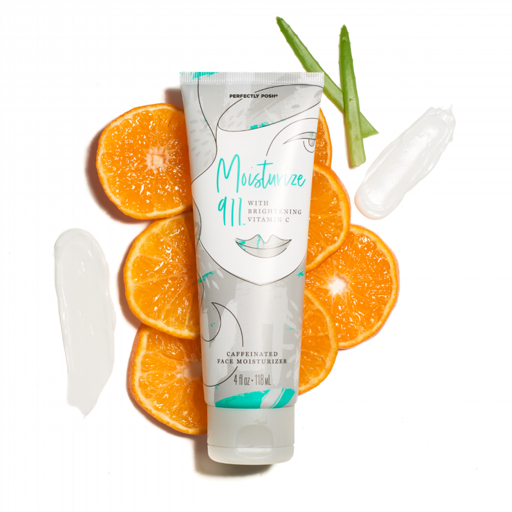 Moisturize 911 with Brightening Vitamin C stylized with orange slices.