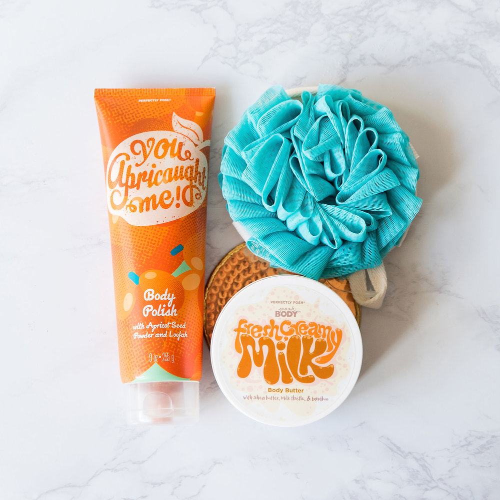 Perfectly Posh Fresh Creamy Milk Body Butter, Perfectly Posh You Apricaught Me! Body Polish, shea butter body butter, Posh body butter, Posh body scrub, body butter and scrub pairings