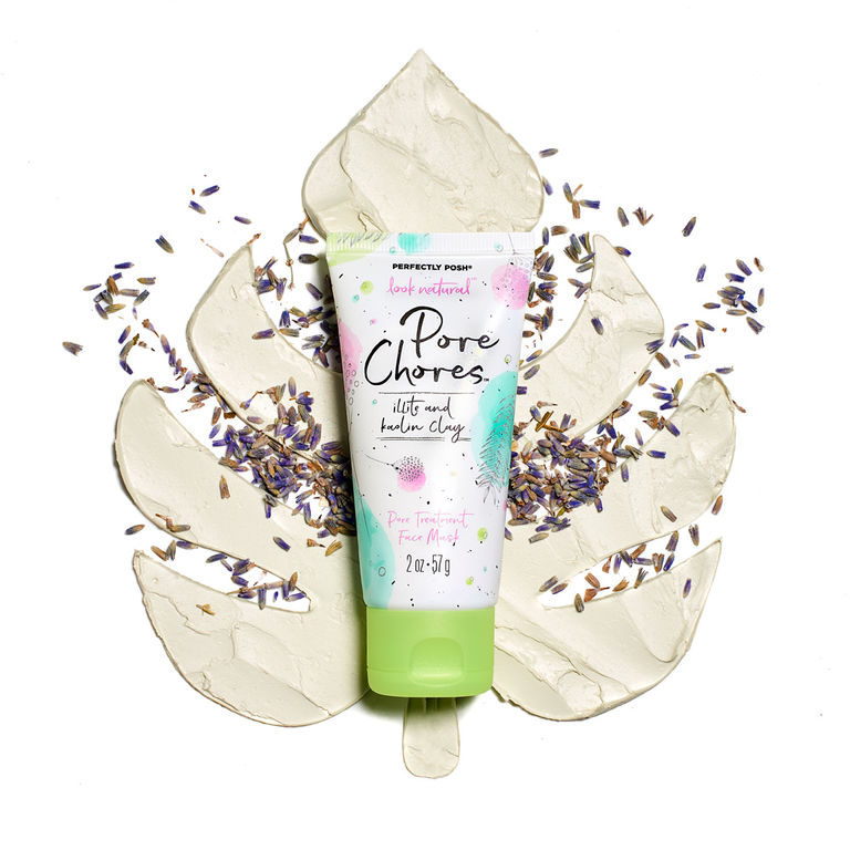 Perfectly Posh Pore Chores Face Mask, pore treatment face mask, blackhead face mask, illite face mask, kaolin clay face mask, French green clay