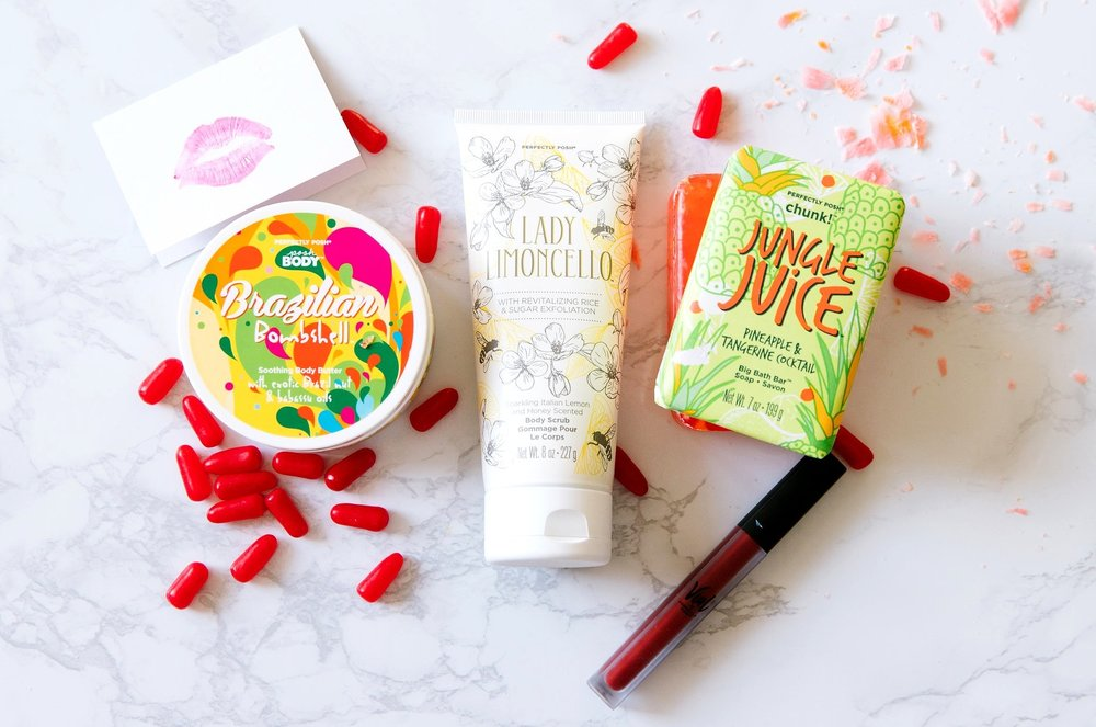 Valentine's Gettin' Busy Bundle, Vial by Perfectly Posh, Brazilian Bombshell Body Butter, Love the Wine Your With Vial Long-Wear Lip Shade, Jungle Juice Chunk Big Bath Bar, Lady Limoncello Body Scrub