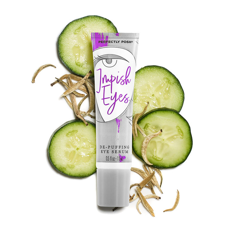 Perfectly Posh Impish Eyes De-Puffing Eye Serum with cucumber extract and aloe vera, naturally based eye serum with antioxidant CoQ10 and caffeine for dark circles and puffy eyes.