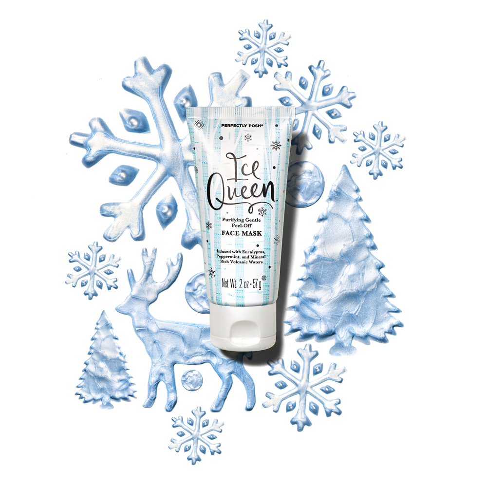 Perfectly Posh Ice Queen Purifying Gentle Peel-Off Face Mask infused with eucalyptus and mint with mineral-rich volcanic waters