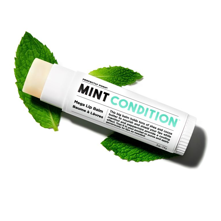Perfectly Posh Mint Condition Mega Lip Balm with shea butter and cocoa butter, naturally based peppermint flavored lip balm with peppermint essential oil and menthol, oversized lip balm without petroleum/petrolatum and lanolin