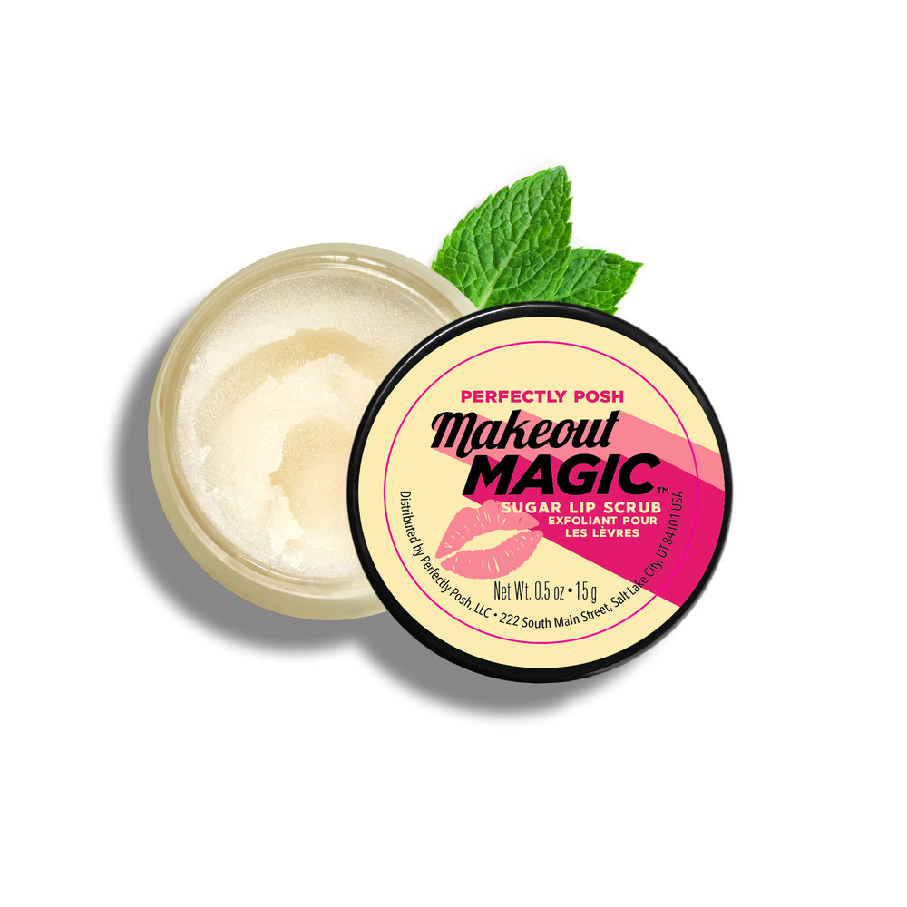 Perfectly Posh Makeout Magic Sugar Lip Scrub with grapefruit and peppermint essential oils, naturally based exfoliating lip polish with mint and citrus