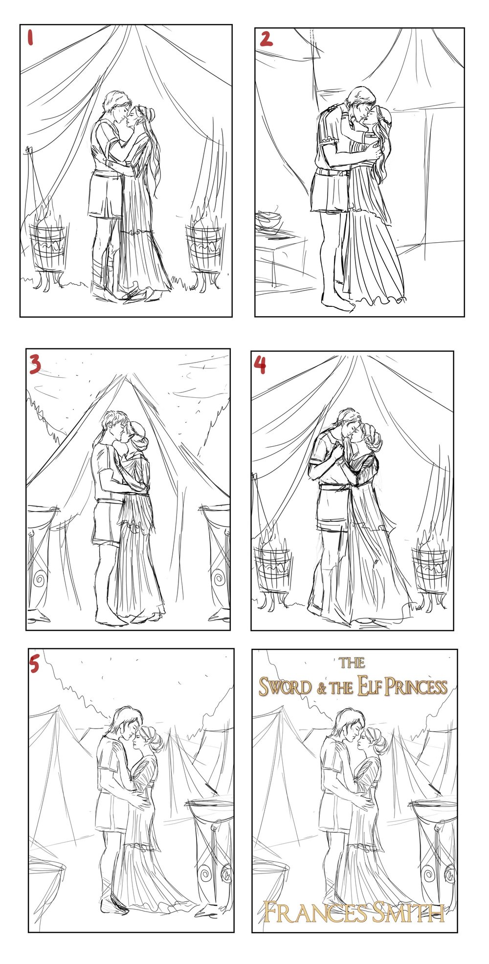 Some thumbnail sketches with a final showing where the text would go, because this was already fairly well established. The brief was an elf maiden with silver hair and Michael's brother kissing or touching faces, or something fairly romantic. One of the challenges is that one of the main characters from the previous books has white hair, is not an elf, but I needed to try and make them look different enough.