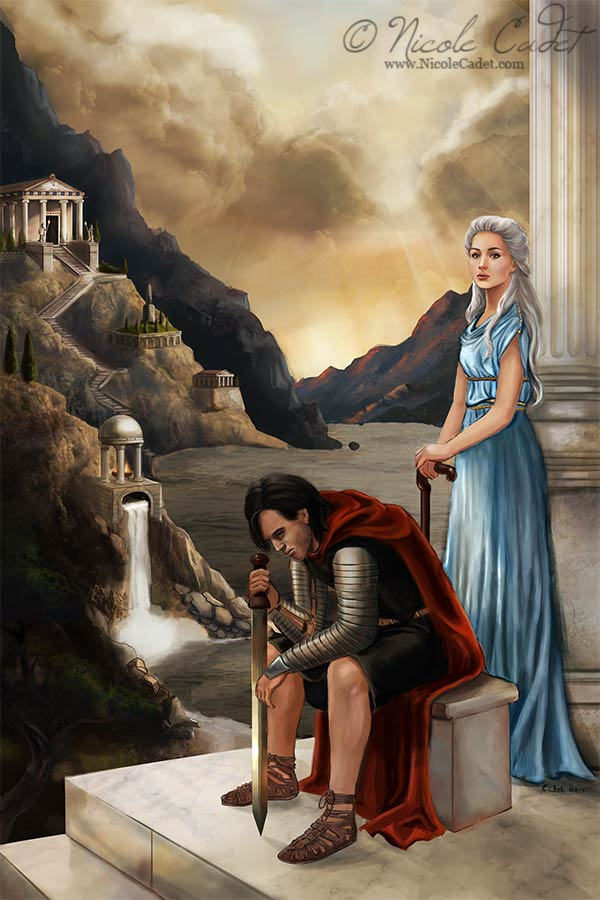 Spirit of the Sword: A fantasy novel set in a classical Roman/Greek world. Characters wear traditional costumes, and the sword is a Spatha. There are fantasy elements added, but most of the imagery is based on what we know from history.