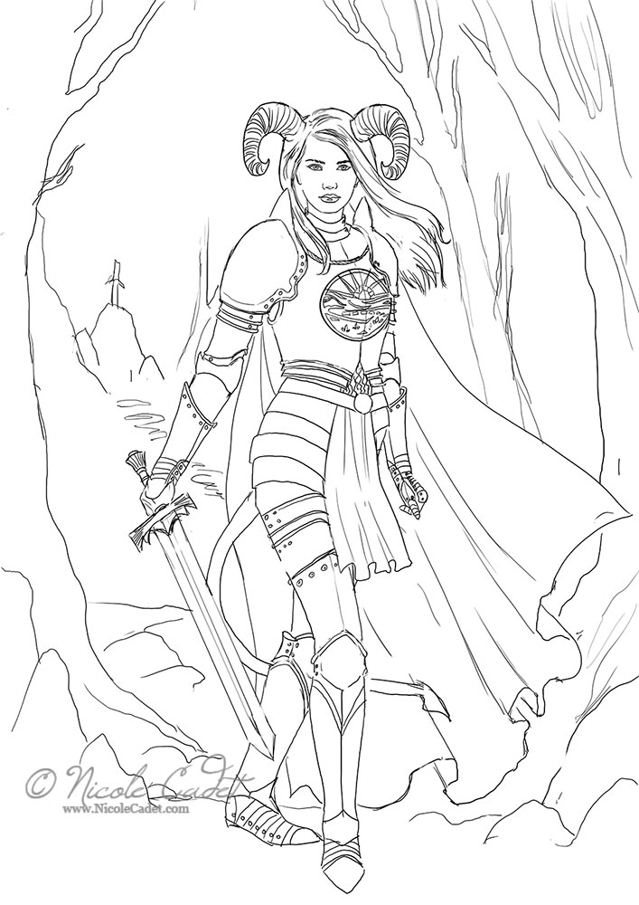 This is the original sketch. Her horns were more pronounced and her tail longer. I hadn't designed the sword or fully worked out the background. This was a relatively simple background. We worked through a couple of different horn concepts and changed the tail length