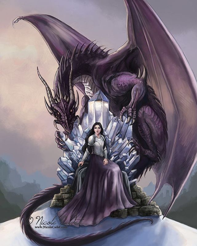 Dragon queen is finished 😀 I wanted to paint a dragon, but I also wanted to paint a woman who was beautiful and strong like her companion #dragon #fantasyart #illustration #crystals #crystalthrone #purple #artistoninstagram #purpledragon #digitalart