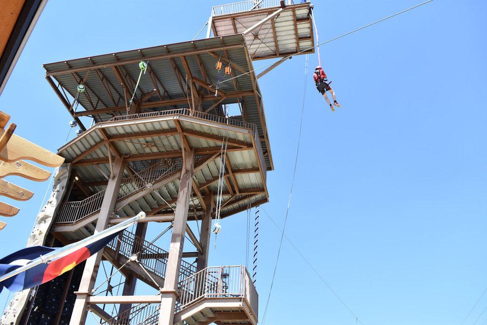 Devin jumping off the 75 foot platform
