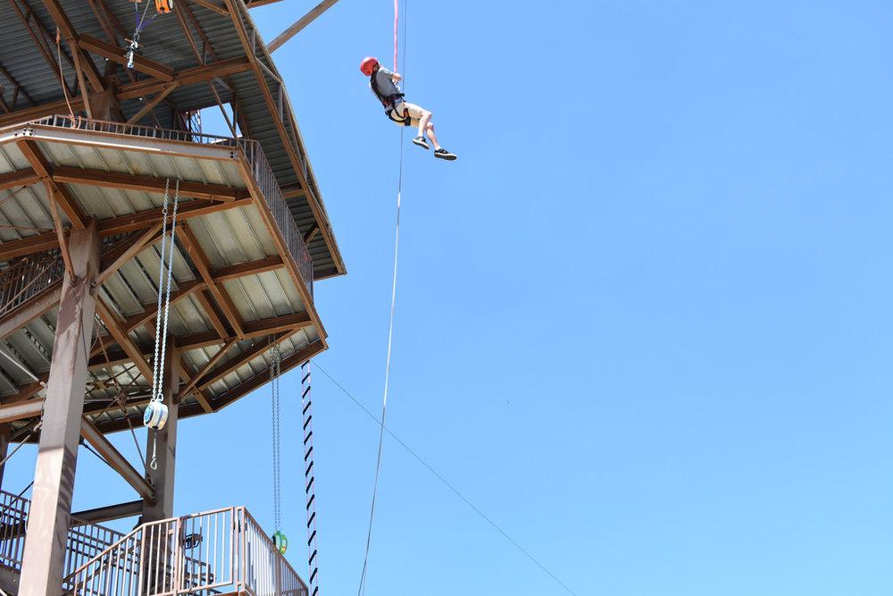Trevan jumping off 75 foot platform