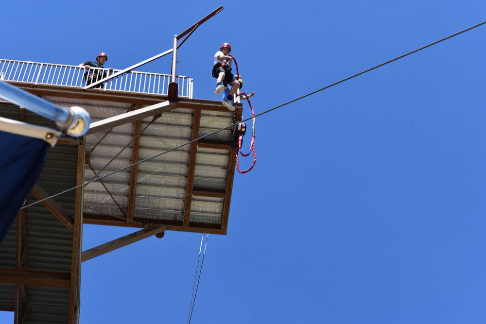Sam jumping off 75 foot platform