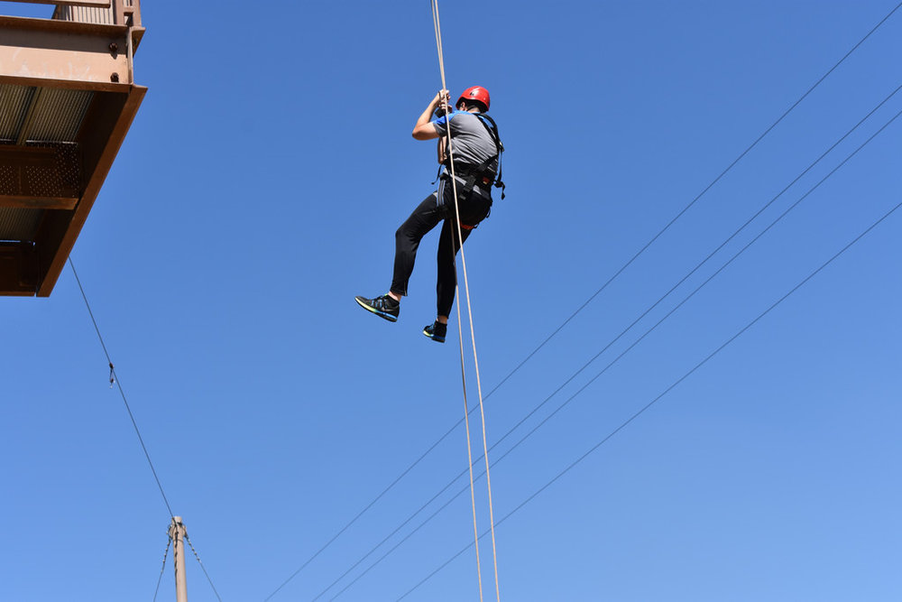 Jerry gliding down controlled 75 foot jump