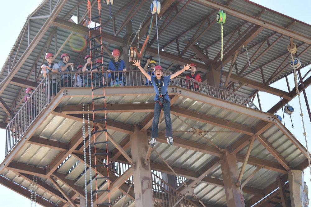 Trevan doing his superman jump at 45 feet