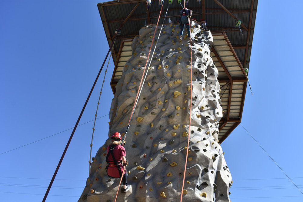 Jane and Allie rappelling