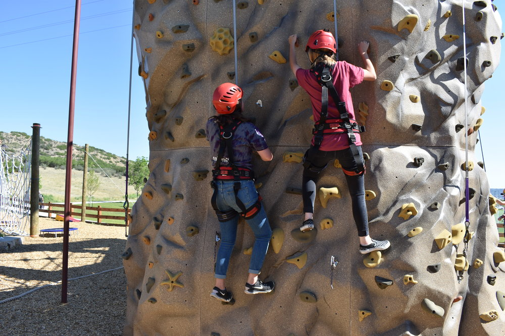 Allie and Jane rock climbing