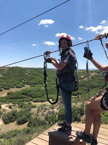 Allie ziplining