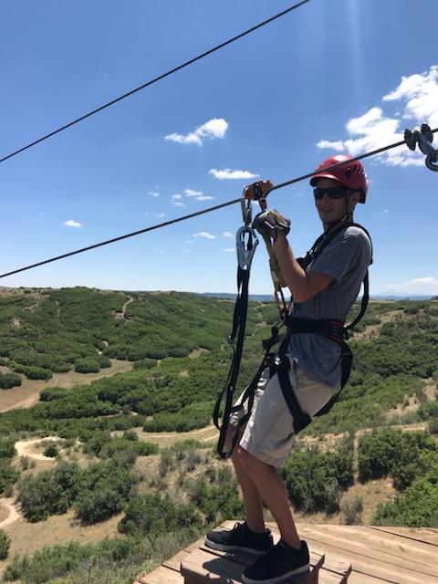 Nate ziplining