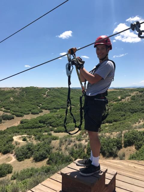 Sam ziplining