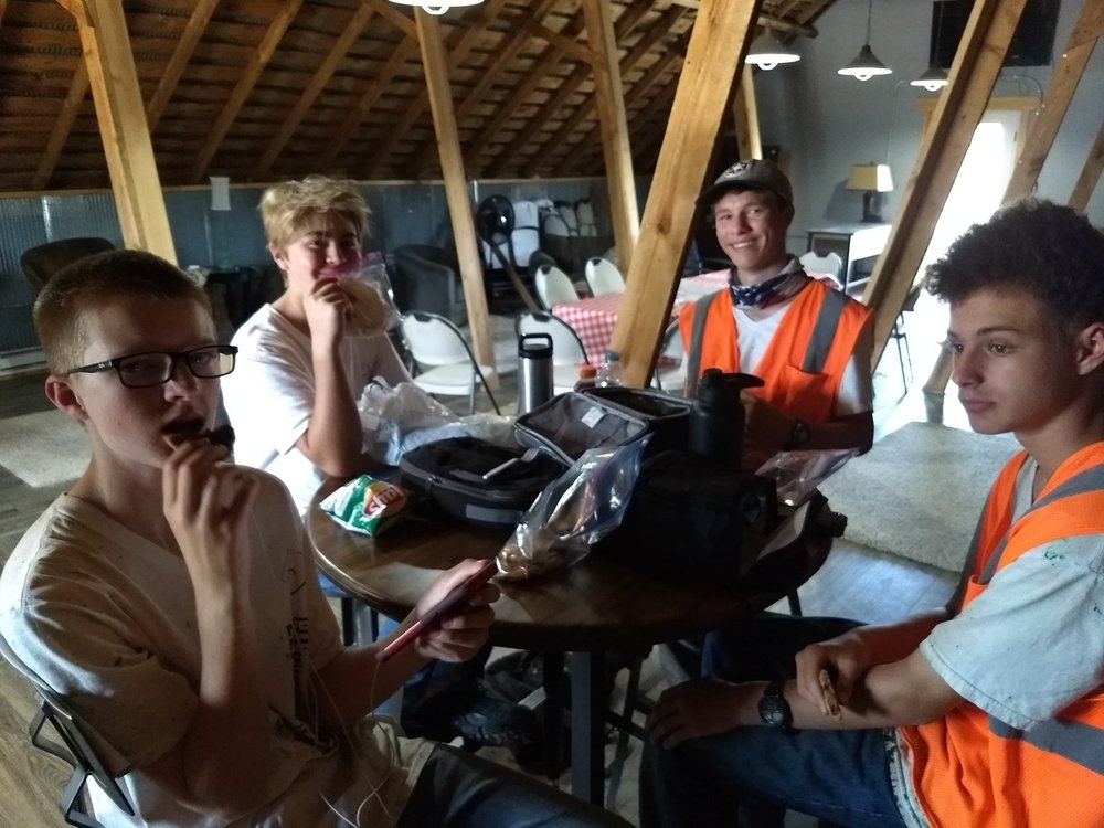 Here we have (from left to right) Todd, Gavin, Sam and Devin hanging with each other in the wifi lounge to eat their lunch and discuss the latest video game strategies...