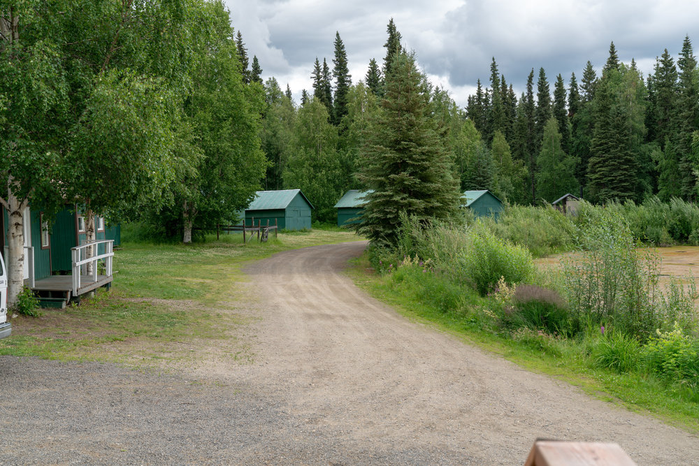 Some of the cabins along the lake at Twin Bears Camp.