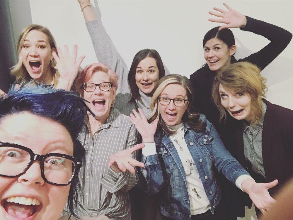 Cohort #4  Pictured:  Emma Hoekstra , Mary,  Zenobia Taylor-Weiss ,  Mindy Tagart , and Zoe Wilson. Class Instructors, Jenn Schaub and Alaina Clarke