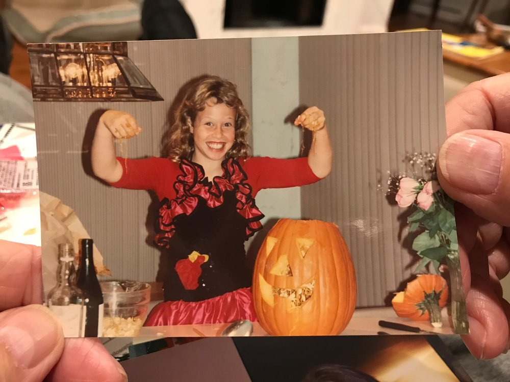 Surprise, it's me. I have apparently always loved smushing my hands into pumpkin guts :-D