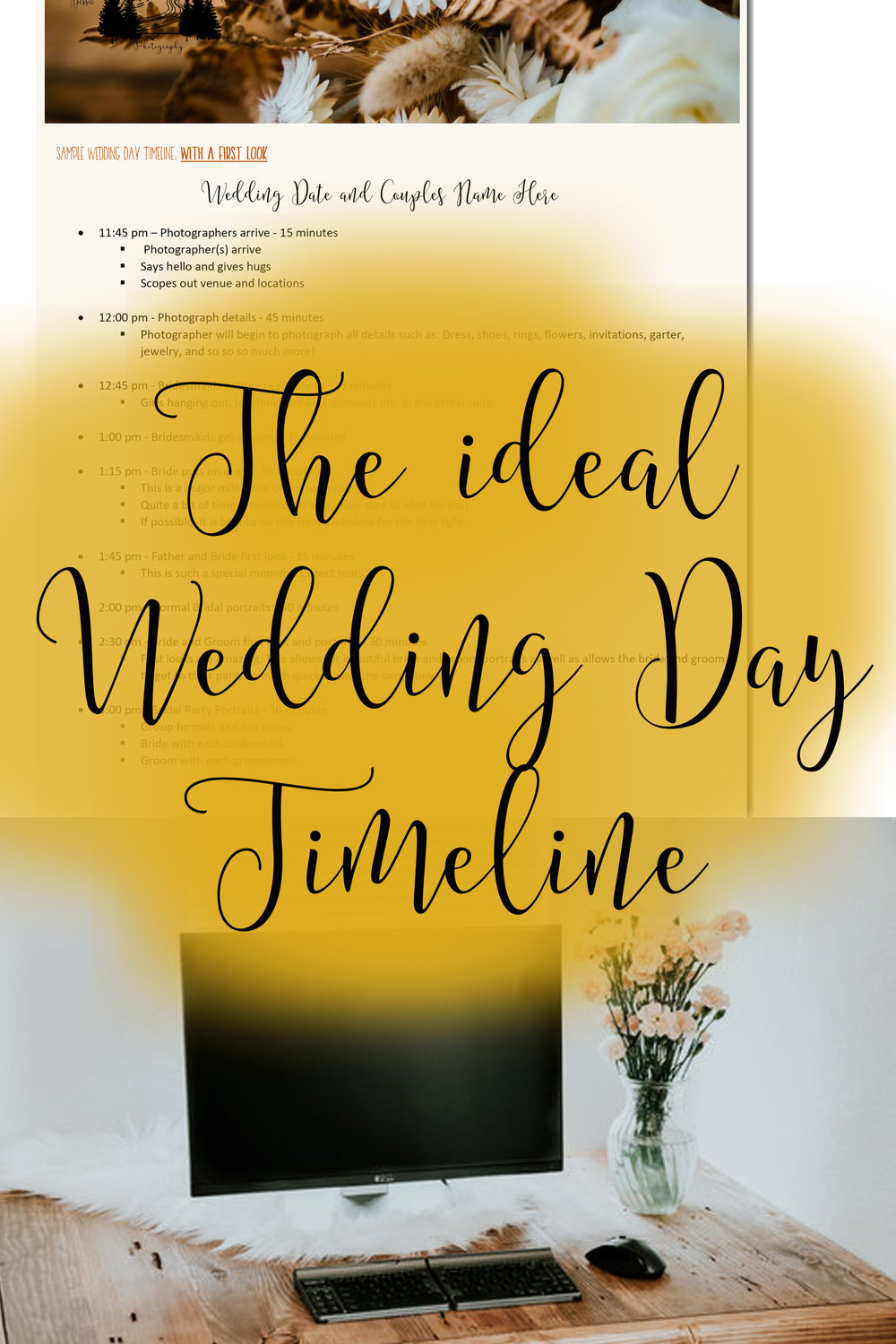 The ideal wedding day timeline by Bessie Young Photography - Free Downloadable guide to a wedding day timeline