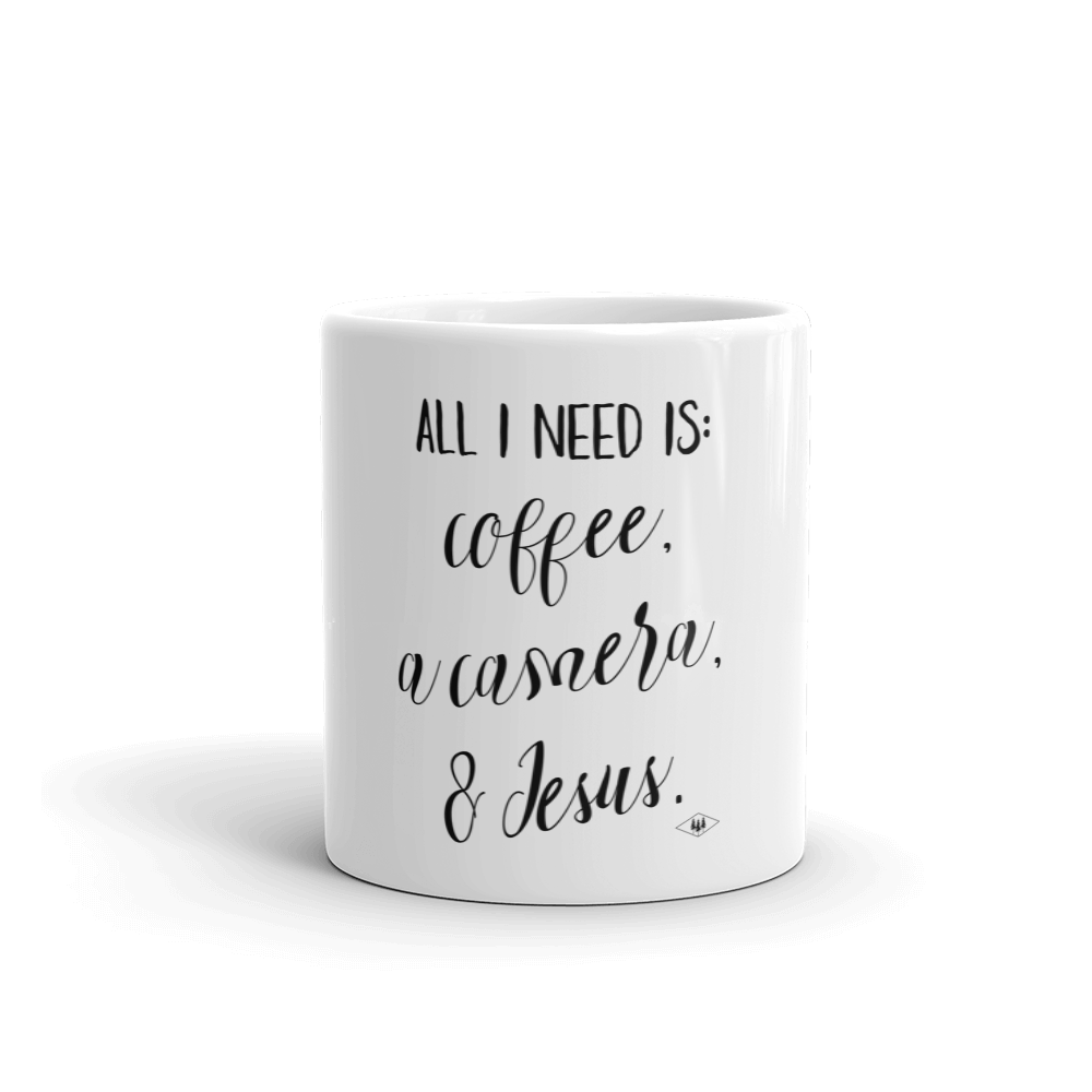 All I need is Coffee a camera and jesus coffee mug made in the USA by Bessie Young Photography front.png