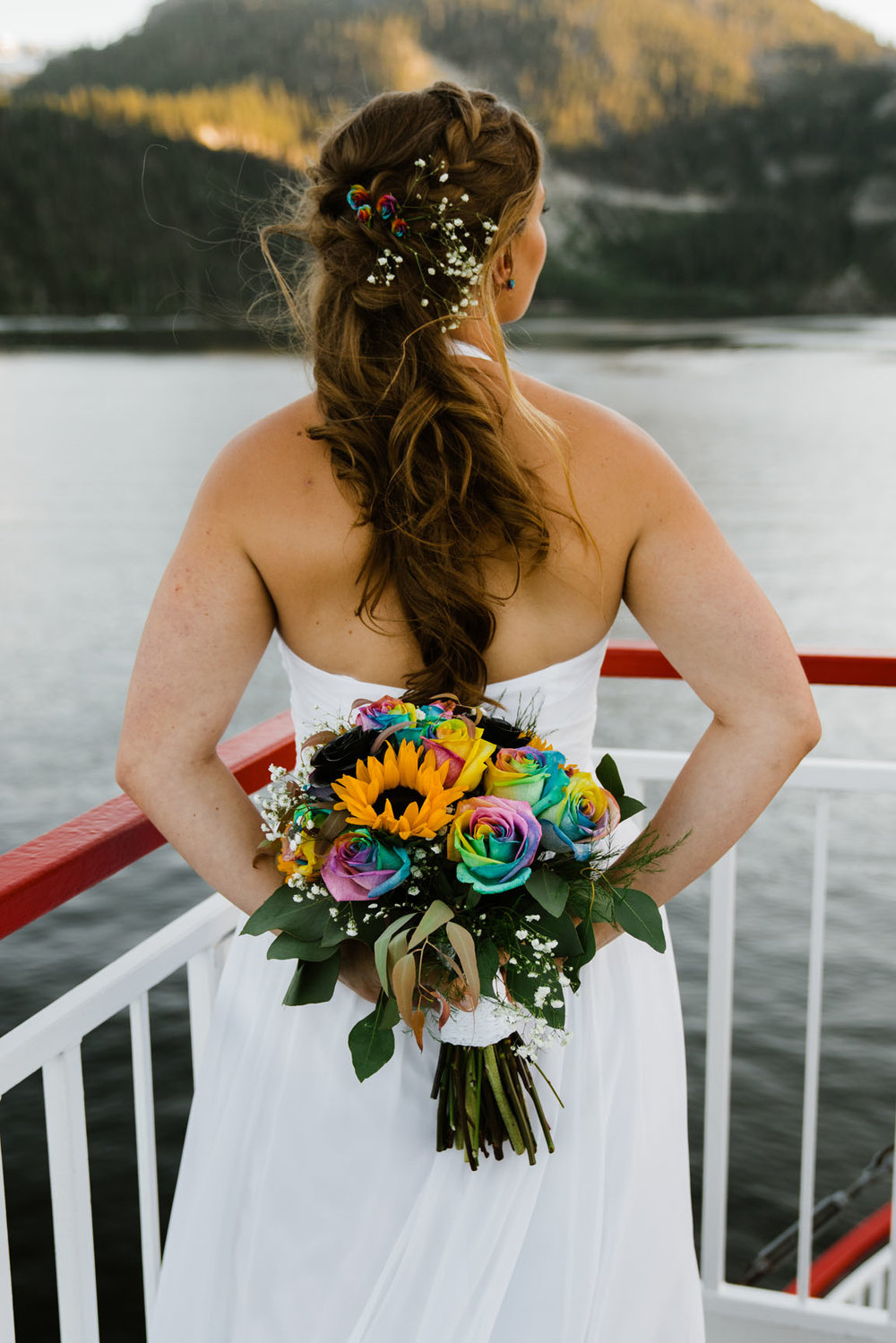 Tie dye wedding bouquet Zephyr Cove Wedding | South Lake Tahoe Wedding | Sonora Photographer | Yosemite Elopement Photographer Bessie Young