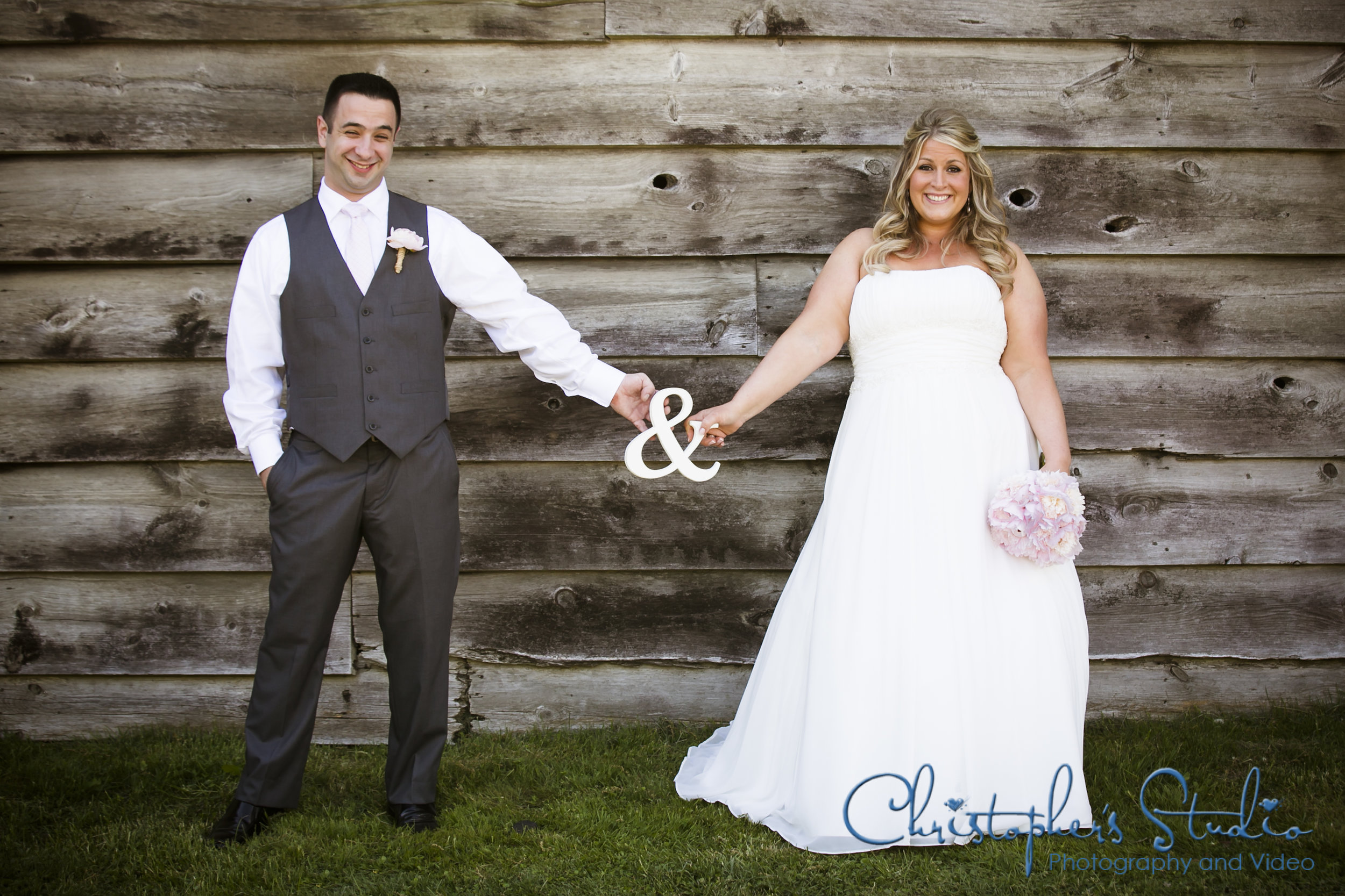 Bride Groom and Barn