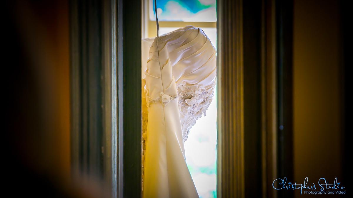 Wedding dress on door at Feast Catering