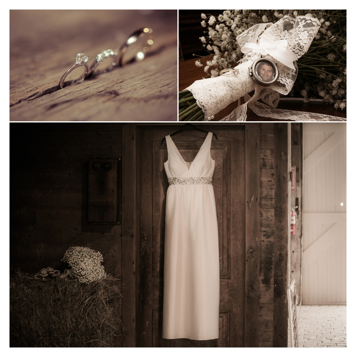 Wedding dress hanging in barn