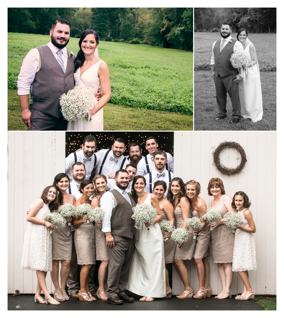 Bridal Party in barn doors Raritan Inn Califon NJ