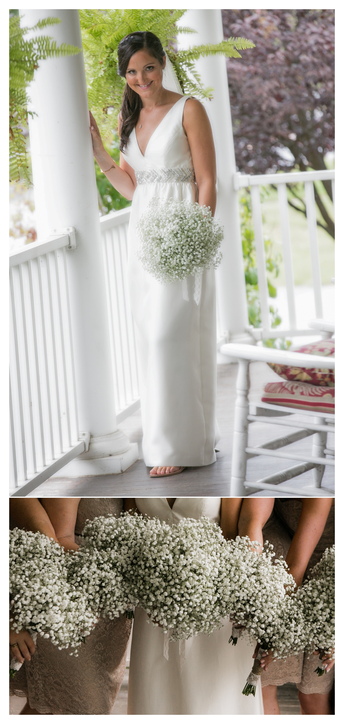 Bride on front porch of barn with babies breath bouquet