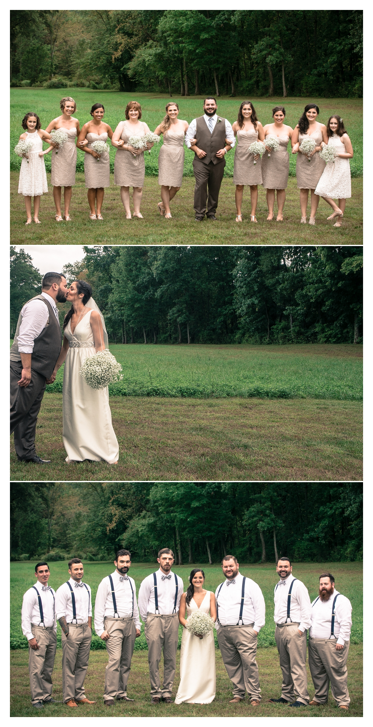 Bridal party photos in open feild