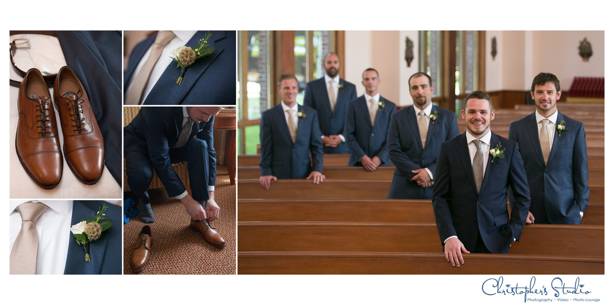 Groomsmen detials at church