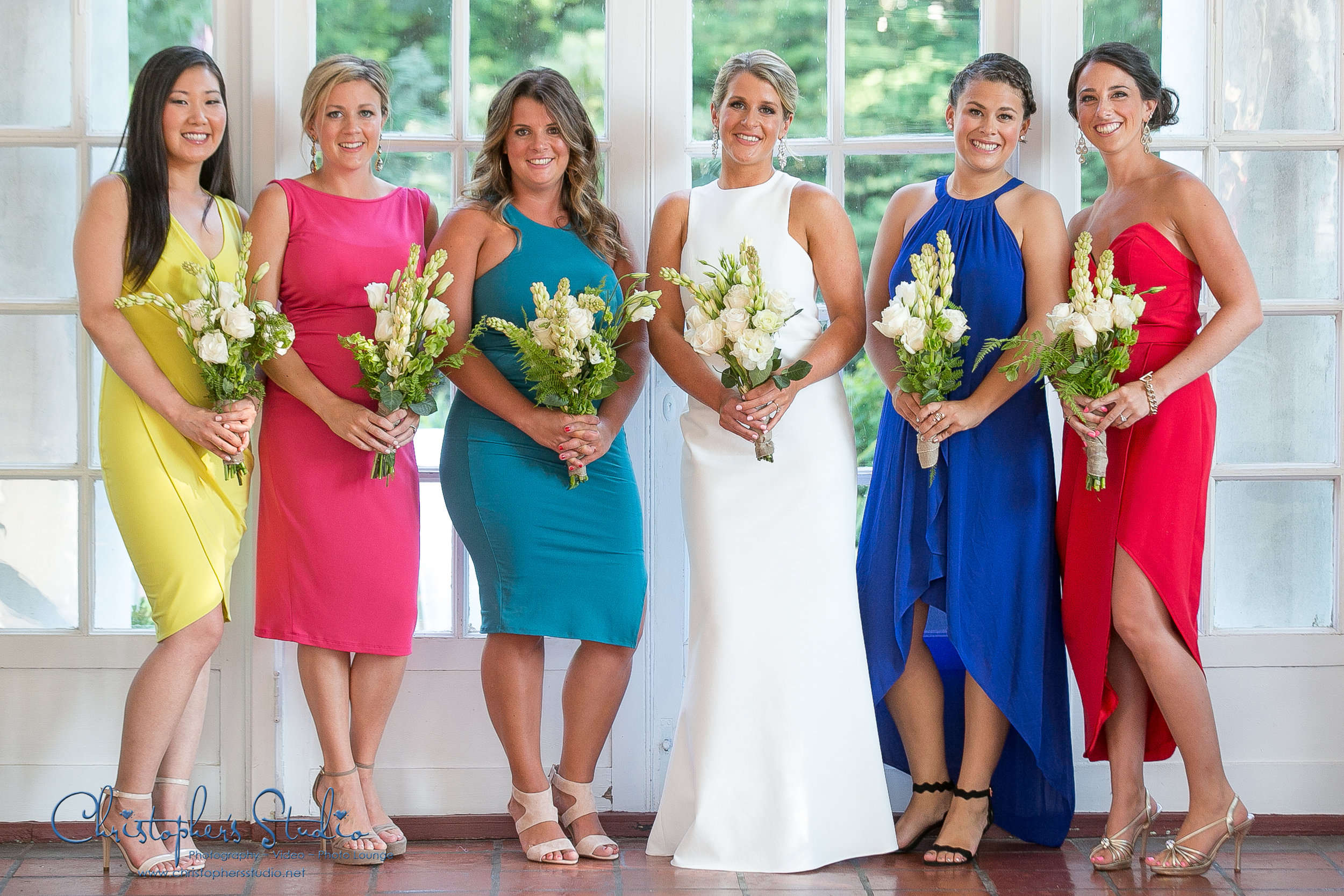 Multi color bridesmaids dresses