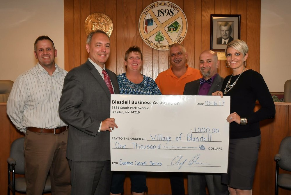 Donation from the BBA to the Village of Blasdell for $1000
